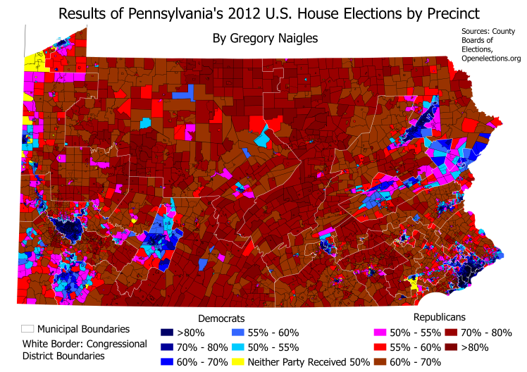 Some Really Cool Maps Of The Congressional And State - Us house district map pennsylvania
