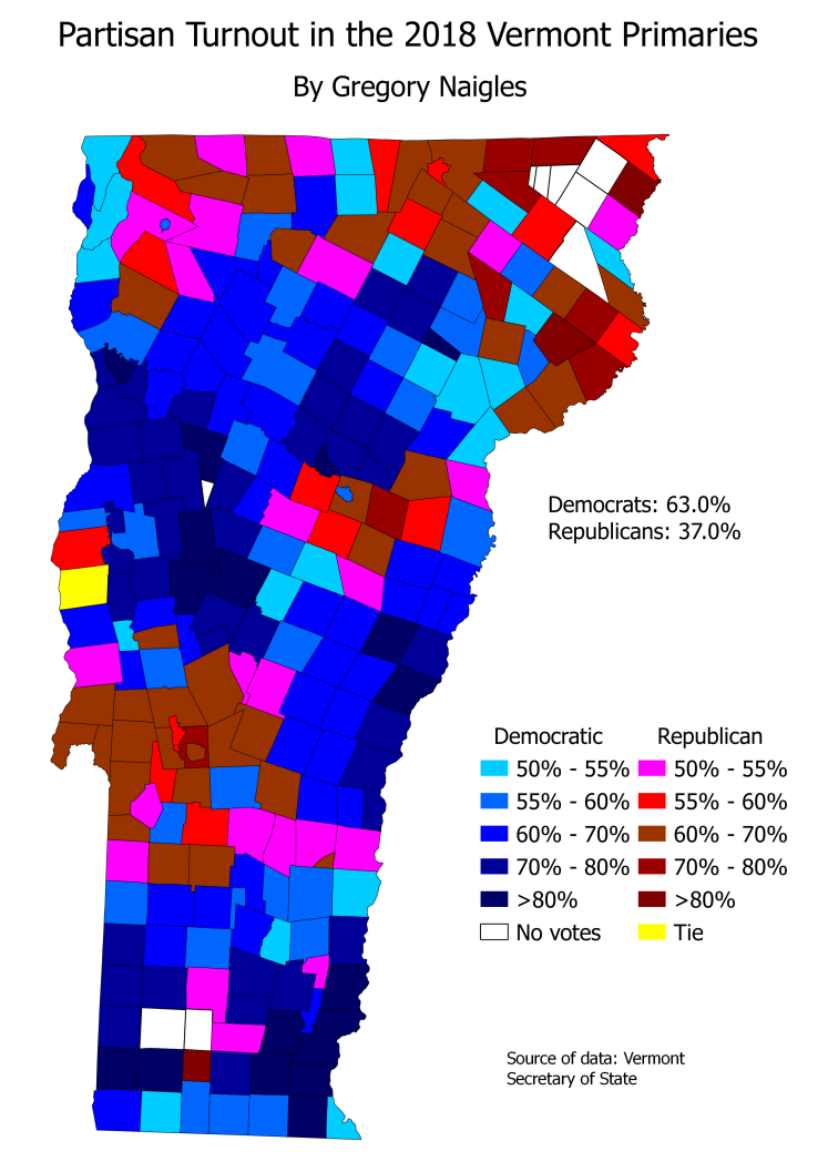 VT 18Primary partisan turnout